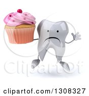 Clipart Of A 3d Unhappy Tooth Character Jumping And Holding A Pink Frosted Cupcake Royalty Free Illustration