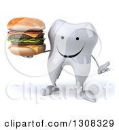 Clipart Of A 3d Happy Tooth Character Shrugging And Holding A Double Cheeseburger Royalty Free Illustration