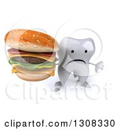 Clipart Of A 3d Unhappy Tooth Character Holding Up A Thumb Down And A Double Cheeseburger Royalty Free Illustration