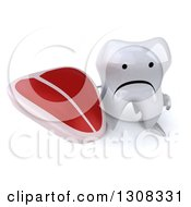 Clipart Of A 3d Unhappy Tooth Character Holding Up A Beef Steak Royalty Free Illustration