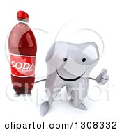 Clipart Of A 3d Happy Tooth Character Holding Up A Thumb And Soda Bottle Royalty Free Illustration