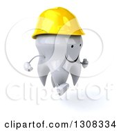 Clipart Of A 3d Happy Contractor Tooth Character Running To The Right Royalty Free Illustration