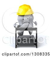 Clipart Of A 3d Unhappy Contractor Tooth Character Holding Plans And Running On A Treadmill Royalty Free Illustration
