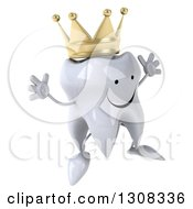 Clipart Of A 3d Happy Crowned Tooth Character Facing Slightly Right And Jumping Royalty Free Illustration