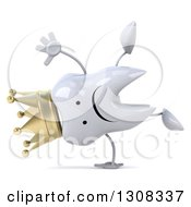 Clipart Of A 3d Unhappy Crowned Tooth Character Cartwheeling Royalty Free Illustration