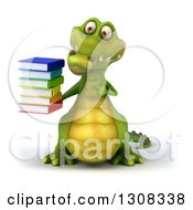 Clipart Of A 3d Crocodile Holding And Pointing To A Stack Of Books Royalty Free Illustration