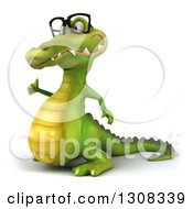 Clipart Of A 3d Bespectacled Crocodile Facing Left And Giving A Thumb Up Royalty Free Illustration