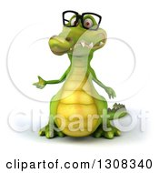 Clipart Of A 3d Bespectacled Crocodile Presenting Royalty Free Illustration