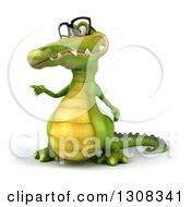 Clipart Of A 3d Bespectacled Crocodile Pointing To The Left Royalty Free Illustration