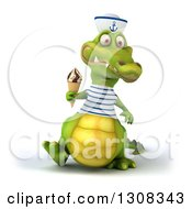 Clipart Of A 3d Sailor Crocodile Walking And Holding A Waffle Ice Cream Cone Royalty Free Illustration