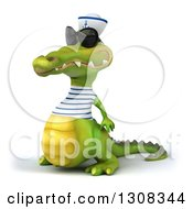 Clipart Of A 3d Sailor Crocodile Wearing Sunglasses And Facing Left Royalty Free Illustration