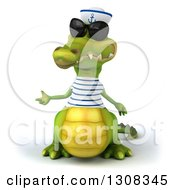 Clipart Of A 3d Sailor Crocodile Wearing Sunglasses And Presenting To The Left Royalty Free Illustration
