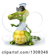 Clipart Of A 3d Sailor Crocodile Wearing Sunglasses And Pointing To The Left Royalty Free Illustration