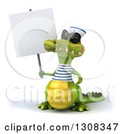 Clipart Of A 3d Sailor Crocodile Wearing Shades And Holding A Blank Sign Royalty Free Illustration
