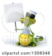Clipart Of A 3d Sailor Crocodile Wearing Sunglasses And Holding A Blank Sign Royalty Free Illustration