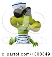 Clipart Of A 3d Sailor Crocodile Wearing Sunglasses And Giving A Thumb Up Over A Sign Royalty Free Illustration