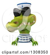 Clipart Of A 3d Sailor Crocodile Wearing Sunglasses Over A Sign Royalty Free Illustration