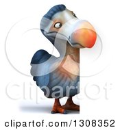 Clipart Of A 3d Full Length Dodo Bird Looking Around A Sign Royalty Free Illustration by Julos