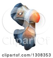 Clipart Of A 3d Dodo Bird Looking Around A Sign Royalty Free Illustration by Julos