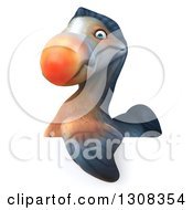 Clipart Of A 3d Dodo Bird With His Wing Draped Over A Sign Royalty Free Illustration by Julos