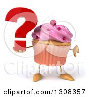 Clipart Of A 3d Pink Frosted Cupcake Character Holding A Thumb Down And Question Mark Royalty Free Illustration by Julos