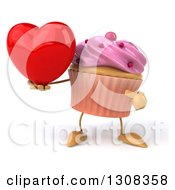 Clipart Of A 3d Pink Frosted Cupcake Character Holding And Pointing To A Heart Royalty Free Illustration by Julos