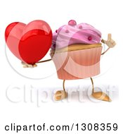 Clipart Of A 3d Pink Frosted Cupcake Character Holding Up A Finger And A Heart Royalty Free Illustration by Julos