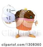 Clipart Of A 3d Chocolate Frosted Cupcake Character Holding A Thumb Down And Dollar Symbol Royalty Free Illustration by Julos