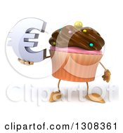 Clipart Of A 3d Chocolate Frosted Cupcake Character Holding A Euro Symbol Royalty Free Illustration by Julos