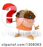 Clipart Of A 3d Chocolate Frosted Cupcake Character Shrugging And Holding A Question Mark Royalty Free Illustration