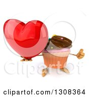 Clipart Of A 3d Chocolate Frosted Cupcake Character Holding Up A Thumb And Love Heart Royalty Free Illustration