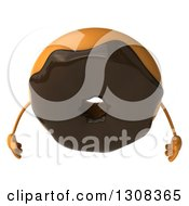 Clipart Of A 3d Chocolate Frosted Donut Character Looking Down Royalty Free Illustration by Julos