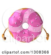 Clipart Of A 3d Pink Sprinkle Frosted Donut Character Royalty Free Illustration by Julos