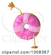 Clipart Of A 3d Pink Sprinkle Frosted Donut Character Cartwheeling Royalty Free Illustration