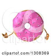 Clipart Of A 3d Pink Sprinkle Frosted Donut Character Presenting Royalty Free Illustration by Julos