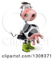 Clipart Of A 3d Gardener Cow Facing Right And Wearing Rubber Boots Royalty Free Illustration