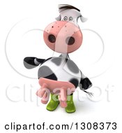 Clipart Of A 3d Gardener Cow Presenting To The Left Royalty Free Illustration
