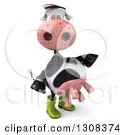 Clipart Of A 3d Gardener Cow Pointing To The Right Royalty Free Illustration