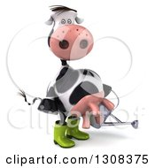 Clipart Of A 3d Gardener Cow Facing Right And Holding A Watering Can Royalty Free Illustration