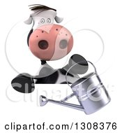 Clipart Of A 3d Gardener Cow Holding A Watering Can Over A Sign Royalty Free Illustration