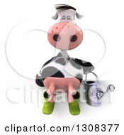 Clipart Of A 3d Gardener Cow Holding A Watering And Sitting Over A Sign Royalty Free Illustration