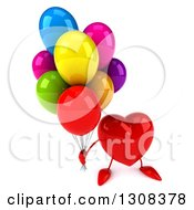 Clipart Of A 3d Heart Character Holding Up Party Balloons Royalty Free Illustration