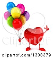 Clipart Of A 3d Heart Character Holding Up A Finger And Party Balloons Royalty Free Illustration