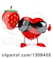 Clipart Of A 3d Heart Character Wearing Sunglasses Giving A Thumbup And Holding A Strawberry Royalty Free Illustration