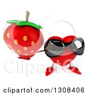 Clipart Of A 3d Heart Character Wearing Sunglasses And Holding Up A Strawberry Royalty Free Illustration