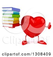 Clipart Of A 3d Heart Character Giving A Thumb Up And Holding A Stack Of Books Royalty Free Illustration