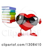 Clipart Of A 3d Heart Character Wearing Sunglases Giving A Thumb Up And Holding A Stack Of Books Royalty Free Illustration