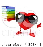 Clipart Of A 3d Heart Character Wearing Sunglases Shrugging And Holding A Stack Of Books Royalty Free Illustration