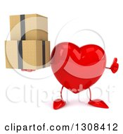 Clipart Of A 3d Heart Character Giving A Thumb Up And Holding Boxes Royalty Free Illustration