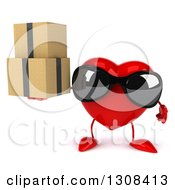 Clipart Of A 3d Heart Character Wearing Sunglasses And Holding Boxes Royalty Free Illustration